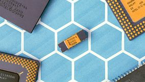 Black and Yellow Electronic Chip royalty free stock photo