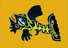 Black-yellow fish. Abstract black-yellow fish - the vector image Stock Photography