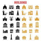 Black and yellow flat building icons Royalty Free Stock Images
