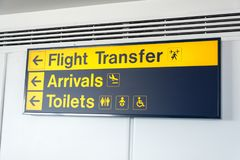 Black and yellow flight transfer, arrivals and toilets sign Stock Photography