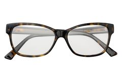 Black and yellow glasses in rectangular frame transparent for reading or good eye sight, front view isolated on white background.  stock photo