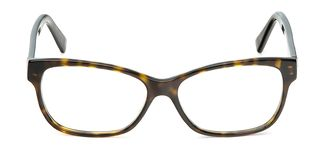 Black and yellow glasses in rectangular frame transparent for reading or good eye sight, front view isolated on white background.  royalty free stock photo