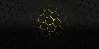 Black and yellow hexagons modern background illustration Stock Image