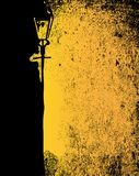Badly Lit Street. A black and yellow image of a badly lit street with a gas light Stock Photo