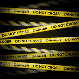 Black And Yellow Lines. Do Not Cross, Danger, Do Not Enter, Caution. Black Background. Vector Illustration Stock Photography