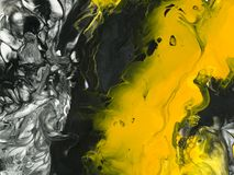 Black and yellow marble abstract hand painted background Stock Images