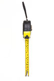 Black and yellow measuring tape. Isolated on white background Royalty Free Stock Photos