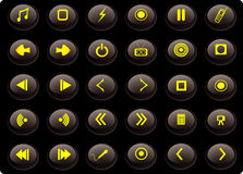 Black and yellow media buttons Royalty Free Stock Photos