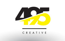 495 Black and Yellow Number Logo Design. 495 Black and Yellow Number Logo Design cut in half Vector Illustration