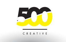 500 Black and Yellow Number Logo Design. 500 Black and Yellow Number Logo Design cut in half Stock Photos