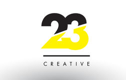 23 Black and Yellow Number Logo Design. 23 Black and Yellow Number Logo Design cut in half Royalty Free Stock Images