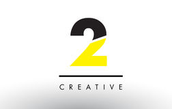 2 Black and Yellow Number Logo Design. 2 Black and Yellow Number Logo Design cut in half Royalty Free Stock Photos