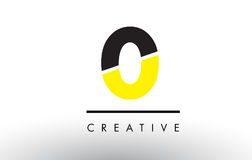 0 Black and Yellow Number Logo Design. 0 Black and Yellow Number Logo Design cut in half Stock Image