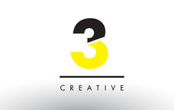 3 Black and Yellow Number Logo Design. 3 Black and Yellow Number Logo Design cut in half Royalty Free Stock Image