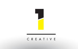 1 Black and Yellow Number Logo Design. 1 Black and Yellow Number Logo Design cut in half Stock Photography