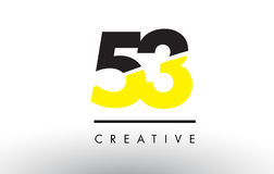 53 Black and Yellow Number Logo Design. 53 Black and Yellow Number Logo Design cut in half royalty free illustration
