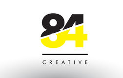 84 Black and Yellow Number Logo Design. 84 Black and Yellow Number Logo Design cut in half Stock Images
