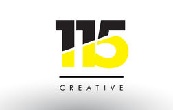 115 Black and Yellow Number Logo Design. 115 Black and Yellow Number Logo Design cut in half Vector Illustration
