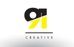 91 Black and Yellow Number Logo Design. 91 Black and Yellow Number Logo Design cut in half vector illustration