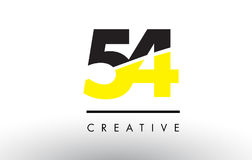 54 Black and Yellow Number Logo Design. 54 Black and Yellow Number Logo Design cut in half Royalty Free Stock Photos