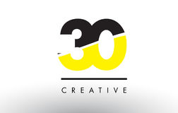 30 Black and Yellow Number Logo Design. Stock Image