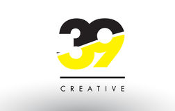 39 Black and Yellow Number Logo Design. Royalty Free Stock Photography