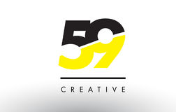 59 Black and Yellow Number Logo Design. 59 Black and Yellow Number Logo Design cut in half Royalty Free Stock Images