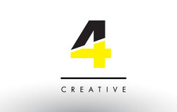 4 Black and Yellow Number Logo Design. 4 Black and Yellow Number Logo Design cut in half Stock Image
