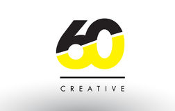 60 Black and Yellow Number Logo Design. 60 Black and Yellow Number Logo Design cut in half stock illustration