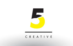 5 Black and Yellow Number Logo Design. 5 Black and Yellow Number Logo Design cut in half Royalty Free Stock Photography
