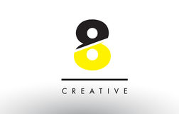 8 Black and Yellow Number Logo Design. 8 Black and Yellow Number Logo Design cut in half Royalty Free Stock Photo