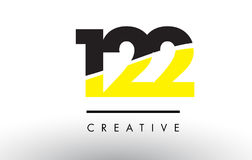 122 Black and Yellow Number Logo Design. 122 Black and Yellow Number Logo Design cut in half Stock Photo