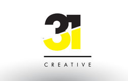 31 Black and Yellow Number Logo Design. 31 Black and Yellow Number Logo Design cut in half Stock Image