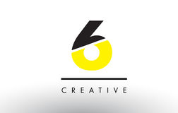 6 Black and Yellow Number Logo Design. 6 Black and Yellow Number Logo Design cut in half Royalty Free Stock Photo