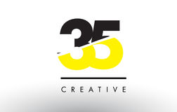 35 Black and Yellow Number Logo Design. Royalty Free Stock Image