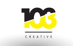 103 Black and Yellow Number Logo Design. Royalty Free Stock Images
