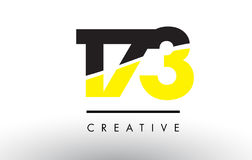 173 Black and Yellow Number Logo Design. 173 Black and Yellow Number Logo Design cut in half Stock Photography