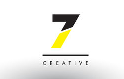 7 Black and Yellow Number Logo Design. 7 Black and Yellow Number Logo Design cut in half Stock Photos