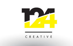 124 Black and Yellow Number Logo Design. 124 Black and Yellow Number Logo Design cut in half Stock Illustration