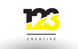 123 Black and Yellow Number Logo Design. Royalty Free Stock Image