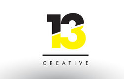 13 Black and Yellow Number Logo Design. 13 Black and Yellow Number Logo Design cut in half Stock Photo