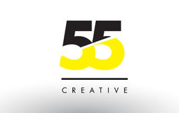 55 Black and Yellow Number Logo Design. 55 Black and Yellow Number Logo Design cut in half Stock Photos