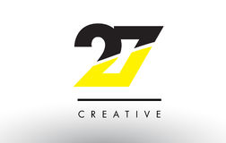 27 Black and Yellow Number Logo Design. 27 Black and Yellow Number Logo Design cut in half Royalty Free Stock Photo