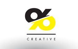 96 Black and Yellow Number Logo Design. 96 Black and Yellow Number Logo Design cut in half Stock Photo