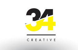34 Black and Yellow Number Logo Design. Stock Photography