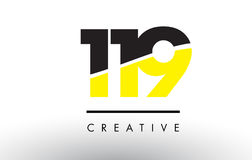 119 Black and Yellow Number Logo Design. 119 Black and Yellow Number Logo Design cut in half Stock Photos