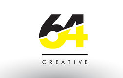 64 Black and Yellow Number Logo Design. 64 Black and Yellow Number Logo Design cut in half Royalty Free Stock Image