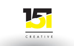 151 Black and Yellow Number Logo Design. Royalty Free Stock Photography