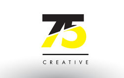 75 Black and Yellow Number Logo Design. 75 Black and Yellow Number Logo Design cut in half stock illustration