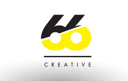 66 Black and Yellow Number Logo Design. 66 Black and Yellow Number Logo Design cut in half Stock Photos